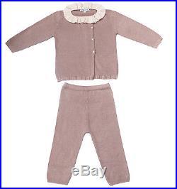 100% Cashmere Baby Ruffled Cardigan Set Pink, Cardigan & Trousers Set ©Moksha