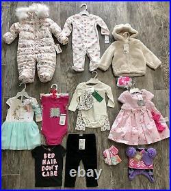 18 Pieces Baby Girls Clothes lot 3-12 Months Disney H&M Carters Jessica Simpson