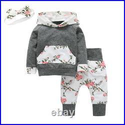 20XSpring And Autumn Toddler Baby Girl Clothes Floral Print Kangaroo