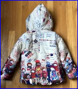 $345 Oilily Russian Dolls chilly warm puffer jacket coat fleece lined Sz 4T