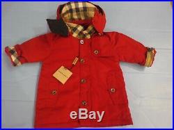 $389 NEW BURBERRY baby boy/girl 9M red parka hooded coat nova plaid NWT GIFT