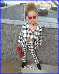 3Pcs Xmas Kids Baby Girl Winter Clothes Plaid Coat Undercoat Pants Outfit Set