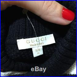 3-6 Months Authentic GUCCi Jacket Sweather Boys Girls Top Black Web Christmas