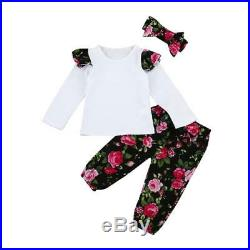 3pcs Toddler Infant Baby Girls Floral Tops+Pants+Headband Outfits Clothes Set