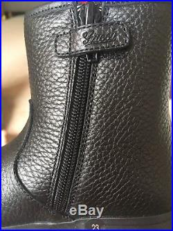 $550 New Gucci GG Logo Leather Black Zipper Boots Toddler Size 7/23 Fur Winter