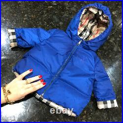 6-9 Months Authentic Burberry Baby Boys Jacket Puffer Hooded Reversible Down Win
