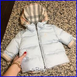 6 Months Authentic Burberry Boys Jacket Puffed Hooded Ice Blue Reversible Check