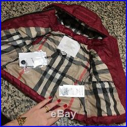 6 Months (fits 3m+) NWT Authentic Burberry Baby Girls Jacket Coat Hooded Down