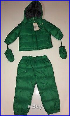 ARMANI BABY Boys Green Snow Suit With Jacket With Hood Pants With Suspenders