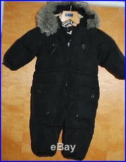 AUTHENTIC BURBERRY Black CHECK KIDS INFANT BABY SNOWSUIT COAT JACKET 12M-80cm