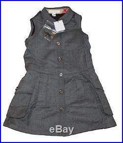 AUTH $250 Burberry Children Girl's Mid Grey Melange Wool Dress 4Y