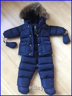 Add Down Two-Piece Raccoon Fur Trim Snowsuit Girl / Boy Unisex Size 12M $385 NWT