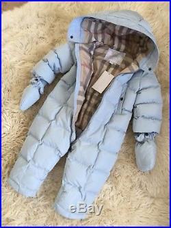 Authentic Burberry Blue Check Kids Infant Baby Snowsuit Coat Jacket 18m 24m