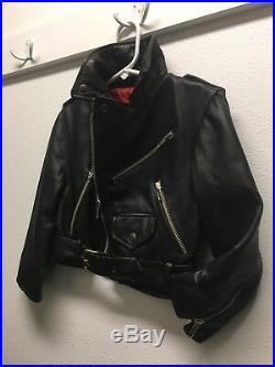 Authentic ITALY VINTAGE MOTO Toddler Zipper Leather Jacket Size M 4T Vera Pelle