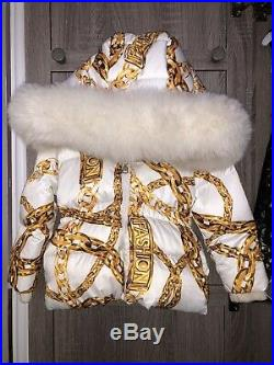 Authentic Moschino Baby Girl White Chain Down Coat Fur Trim 18-24m Used