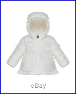 Authentic New W Tag White Moncler Ruffle Trim Puffer Jacket for baby. Unisex SALE