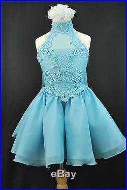 BABY GIRL GLITZ PAGEANT Flower Girl FORMAL SHORT DRESS AQUA Blue Sz 2 3 4 5 6 7