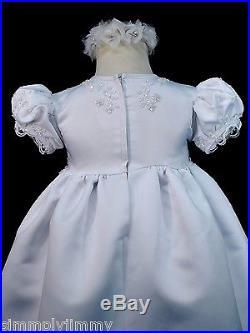 BABY GIRL & TODDLER 2 pcs BAPTISM CHRISTENING WHITE Long Dress GOWN Sz(0-30M)