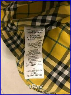 BNWT Burberry Toddler Boy S/S Button Up Bright Yellow Plaid Size 4Y FREE SHIP