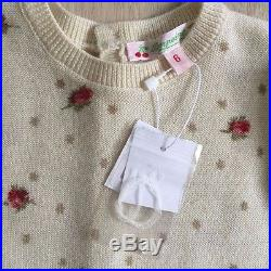 BONPOINT BABY GIRL 6m ROMPER PINK DOTS CREAM FLORAL 100% CASHMERE PLAYSUIT NWT