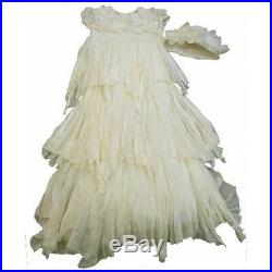 BOUTIQUE BABY BISCOTTI Heirloom Ivory Christening Baptism Dress Hat Set 3-9M