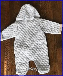 BURBERRY Baby Boy Infant Hooded Blue Quilted Winter One Piece Size 6months
