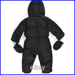 BURBERRY Children Black & Nova Check Snowsuit with Hood & Mittens Sz 2 Years