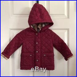 BURBERRY Jamie' Quilted Hooded Puffer Jacket Baby Girl Size 3Y Red