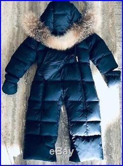 Baby Boy 9/12 Months Moncler Navy Snowsuit Orig $ 775.00