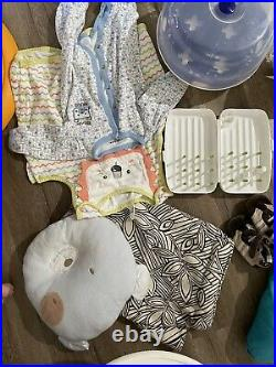 Baby Boy Bundle (Body Suit Clothing Mobiles, Toys, Sit Me Up, Baby Bath Swing)