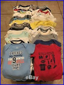 Baby Boy Clothes Lot Of 62 Size Newborn One Piece, Shorts, Pants, & Sleepers