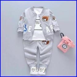 Baby Boy Girl Clothes Cartoon Mickey Mouse Bear Hooded Sport Suit 3pcs/Set