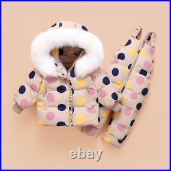 Baby Boys Winter Clothes Jacket Dot Pattern Coat With Big Fur Down Jacket Set