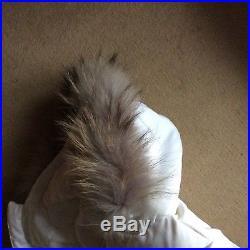 Baby Dior Girls Fur Hood Fleece Lined White Jacket. 6 Months
