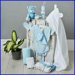 Baby Gift Set in Blue with Fleece, Hooded Towel, Baby Clothes, 2 Muslin Cloths