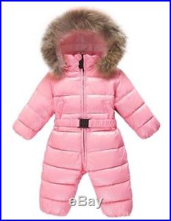 Baby Girl Romper Ski Suit Down Fur Moncler Bag