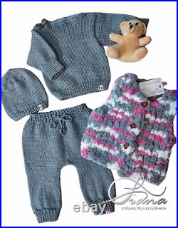 Baby Newborn Todddler Clothes Kid Hand Made Set 4 Wool Knit Knitting New 0-3
