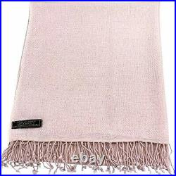 Baby Pink High Grade 100% Cashmere Shawl Wrap Hand Made in Nepal CJ Apparel
