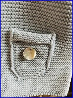 Baby Powder Blue Pangasa Baby Jacket Knit Coat Faux Fur Hood 12Months