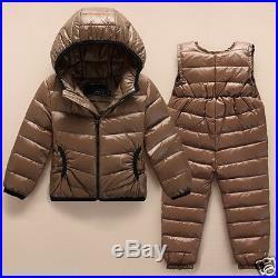 Baby Toddler Down Suit Jacket Pants Winter Coat Outdoor Bodysuit 90cm-120cm