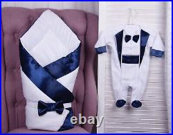 Baby coming home outfit, bodysuit hat and blanket, newborn boy hospital clothes