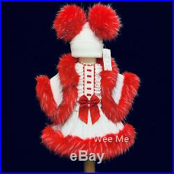 Beautiful Baby Girl White Red Furry Set Pink Spanish Fur Dress Fur Cape and Hat