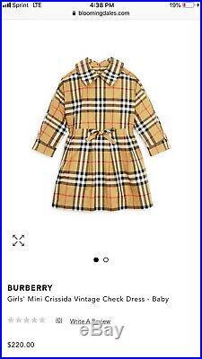 Burberry Authentic Baby Girl Mini Crissida Yellow Dress 6M NWT Retail $220
