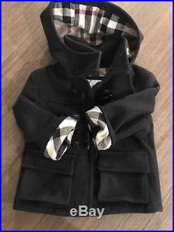 Burberry Baby Boy Wool Coat 18M Navy Removable Hood EUC