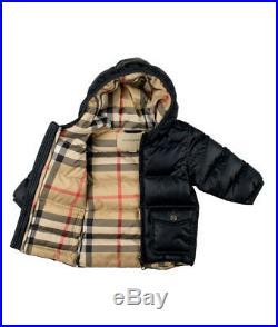 Burberry Baby Jungen Stepp Jacke navy Mantel Winterjacke Kapuze Outwear NP 230