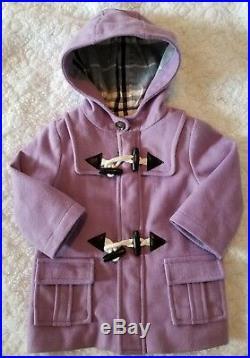 Burberry Baby Little Girls Purple Wool Toggle Jacket Coat 12 M