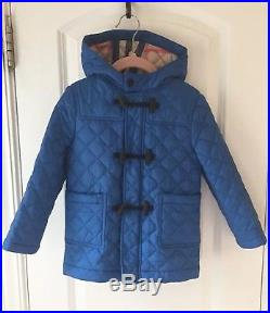 Burberry Children Blue Quilted Hooded Down Toggle Coat Jacket Sz 3Y 3 3T