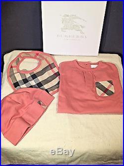 Burberry Children Infant Kids Girls 3 Piece Set In Gift Box! Size 9 Months