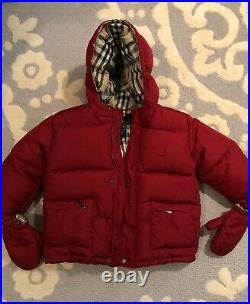 Burberry Childrens Dark Red/Nova Check Down Puffer Coat withMittens! Sz3 Toddler