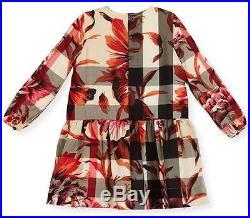 Burberry Girls' Tais Floral Check Dress Pink Azalea Size 4y Nwt $285